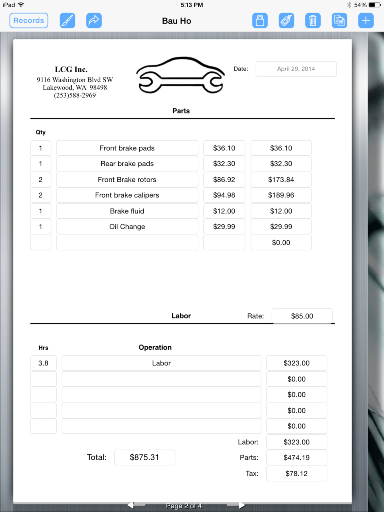 Parts and Labor Invoice Template Free and Auto Repair Service Uses Ipad for Creating An Invoice form