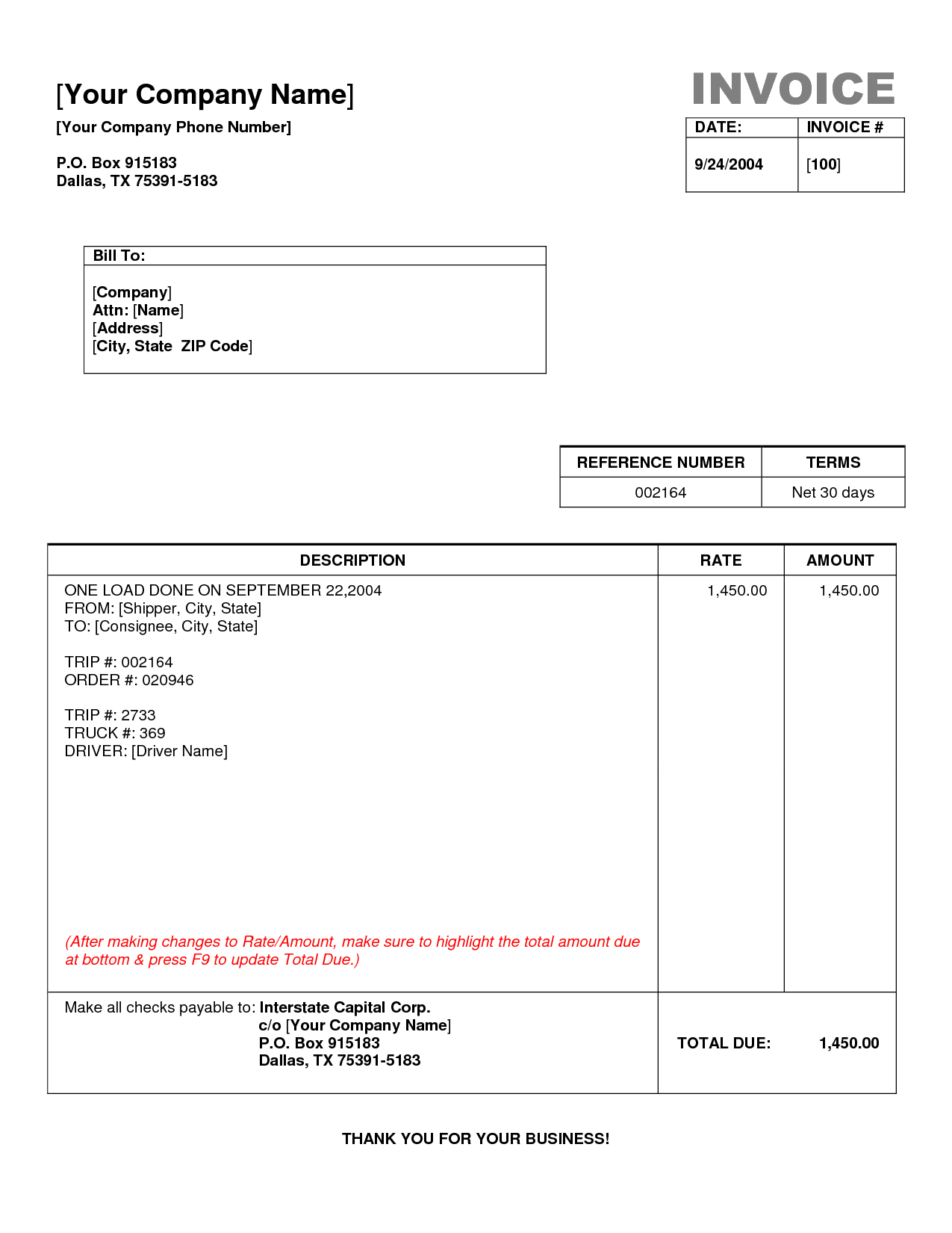 Past Due Bill Template and Transport Invoice Template Rabitah