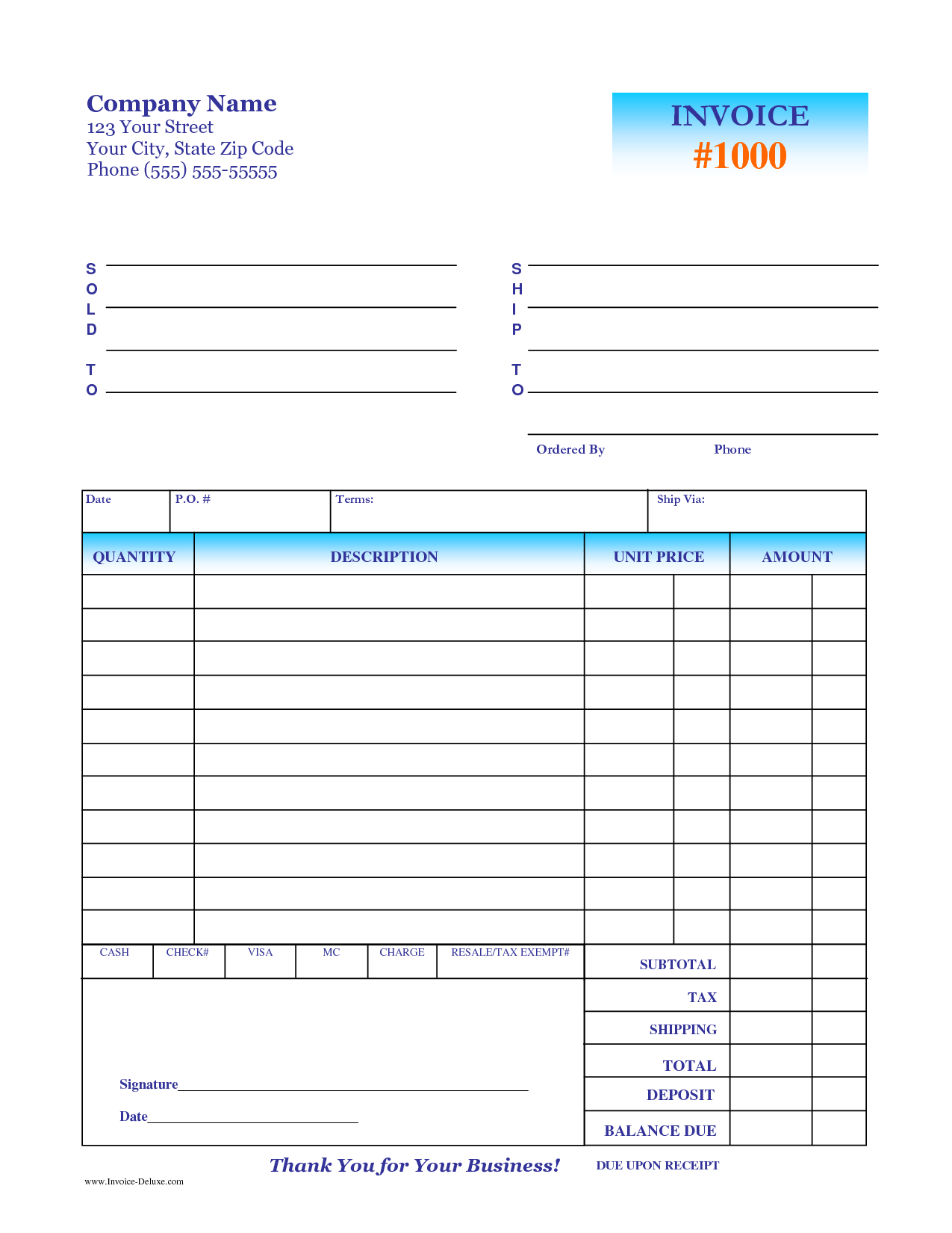 Patient Invoice Template and Deposit Invoice Template Invoice Example