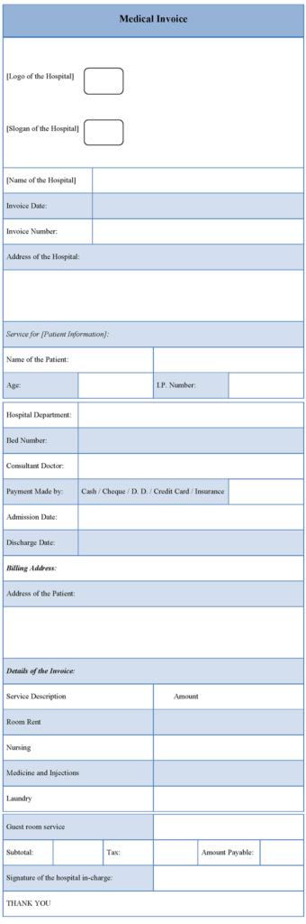 Patient Invoice Template and Hospital Invoice Template Word Rabitah