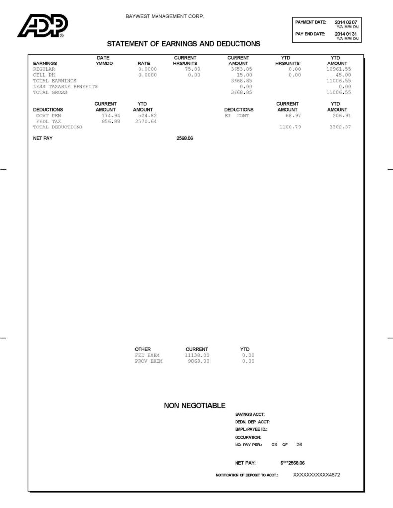 Pay Statement Template and Purchase A Property Vancouver Mortgages