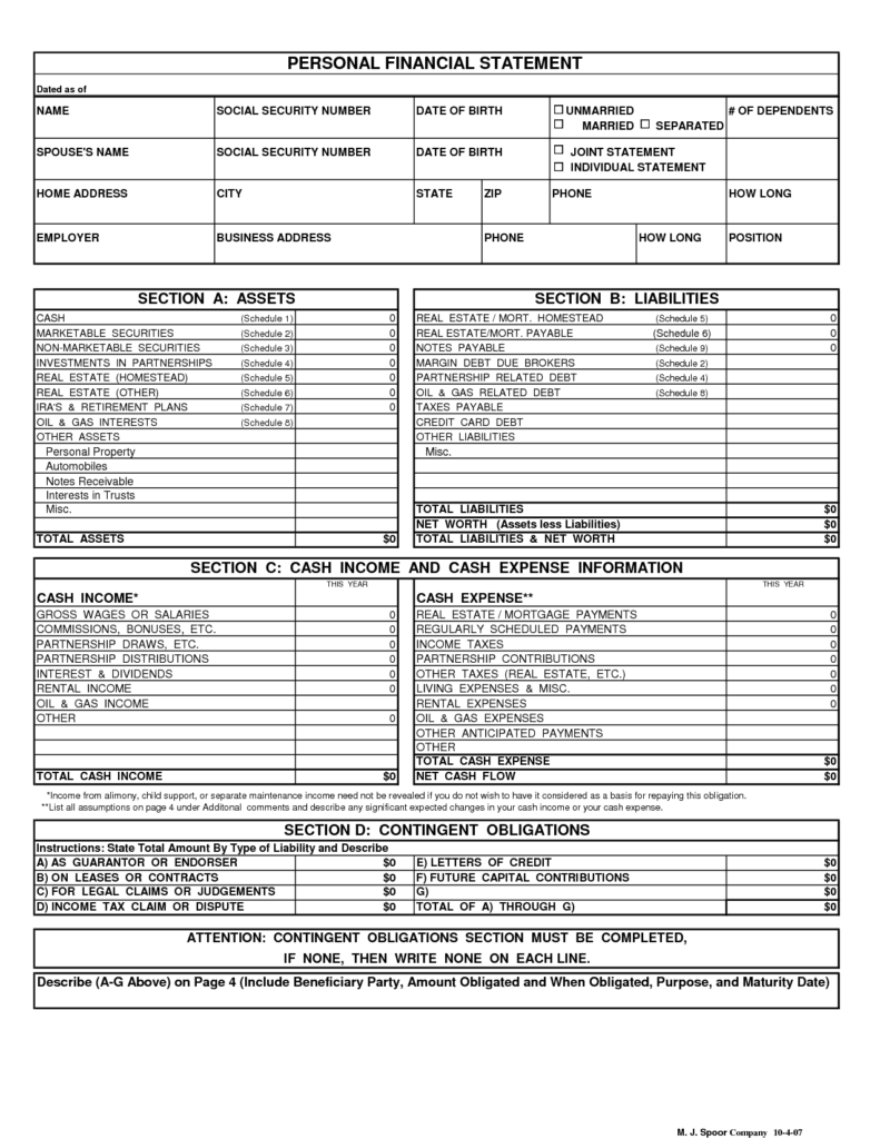 Personal Financial Statements Templates and Personal Financial Statement form Template Template