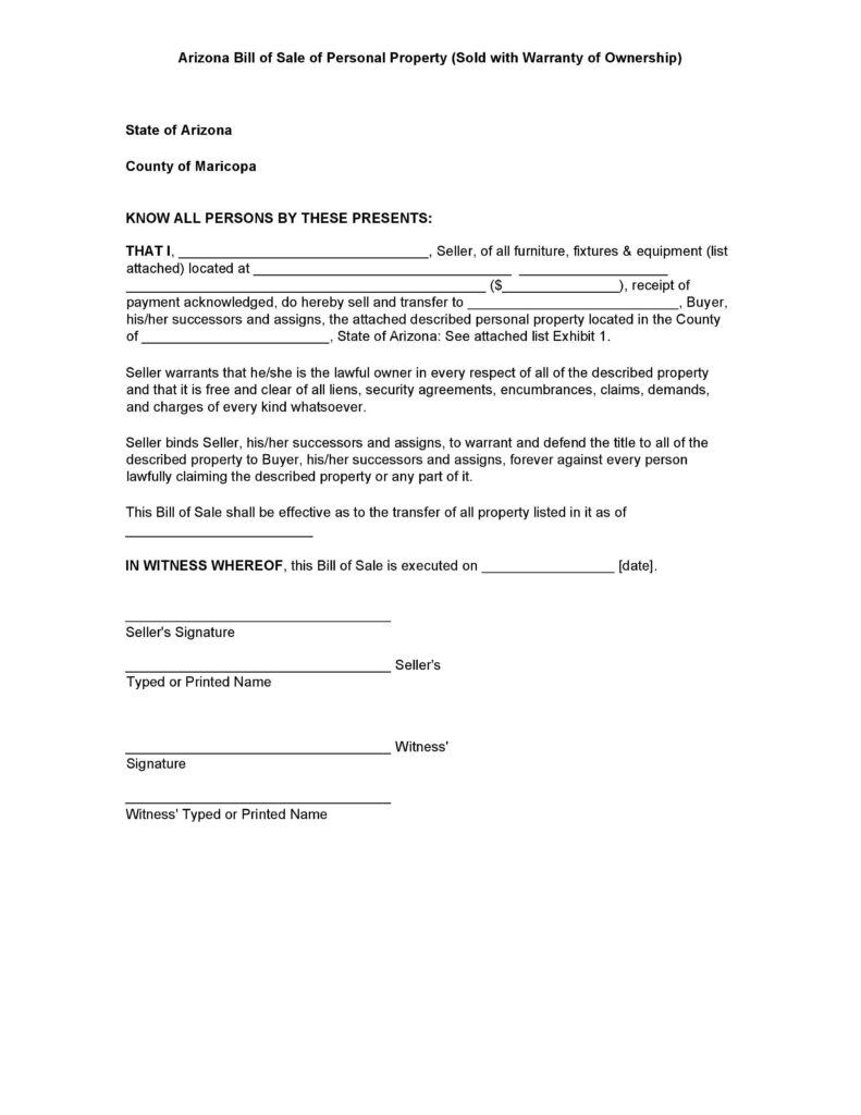Personal Property Bill Of Sale Template and Free Arizona Personal Property Bill Of Sale form Pdf Docx