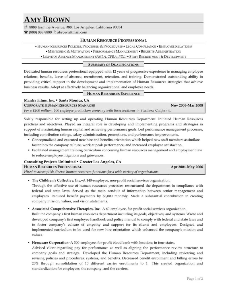 Personal Statement for Human Resource Management Sample and Sample Human Resources Resume Resume for Your Job Application
