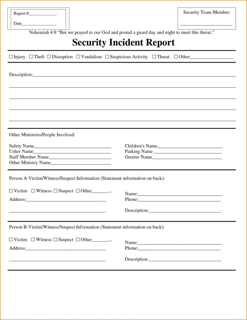 Physical Security Incident Report Template and Incident Report Template Customizable form Templates Inside