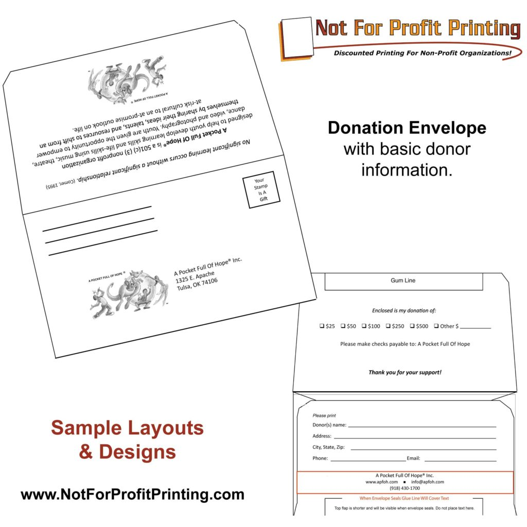 Pledge Sheets for Fundraising Template and Sample Layouts Designs for Donation Envelopes and Remittance