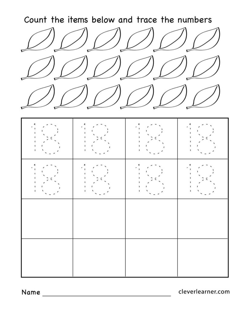 Preschool Worksheets Online and Number 18 Writing Counting and Identification Printable