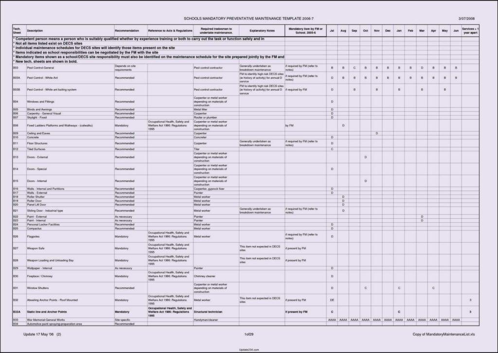 Preventive Maintenance Spreadsheet and Maintenance Checklist Template Virtren