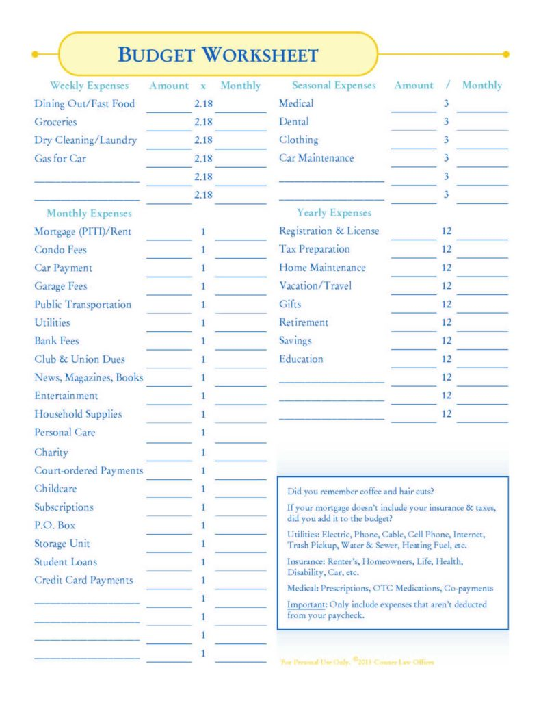 Print Budget Worksheet and Bankruptcy How to Make A Bud Conner Law Blog