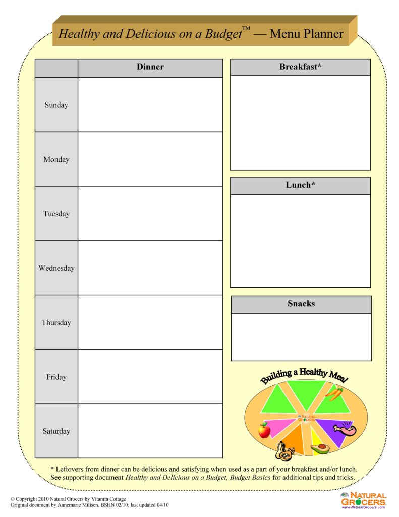 Print Budget Worksheet and Eat Healthy and Delicious Menu Planning Worksheets Print and Fill