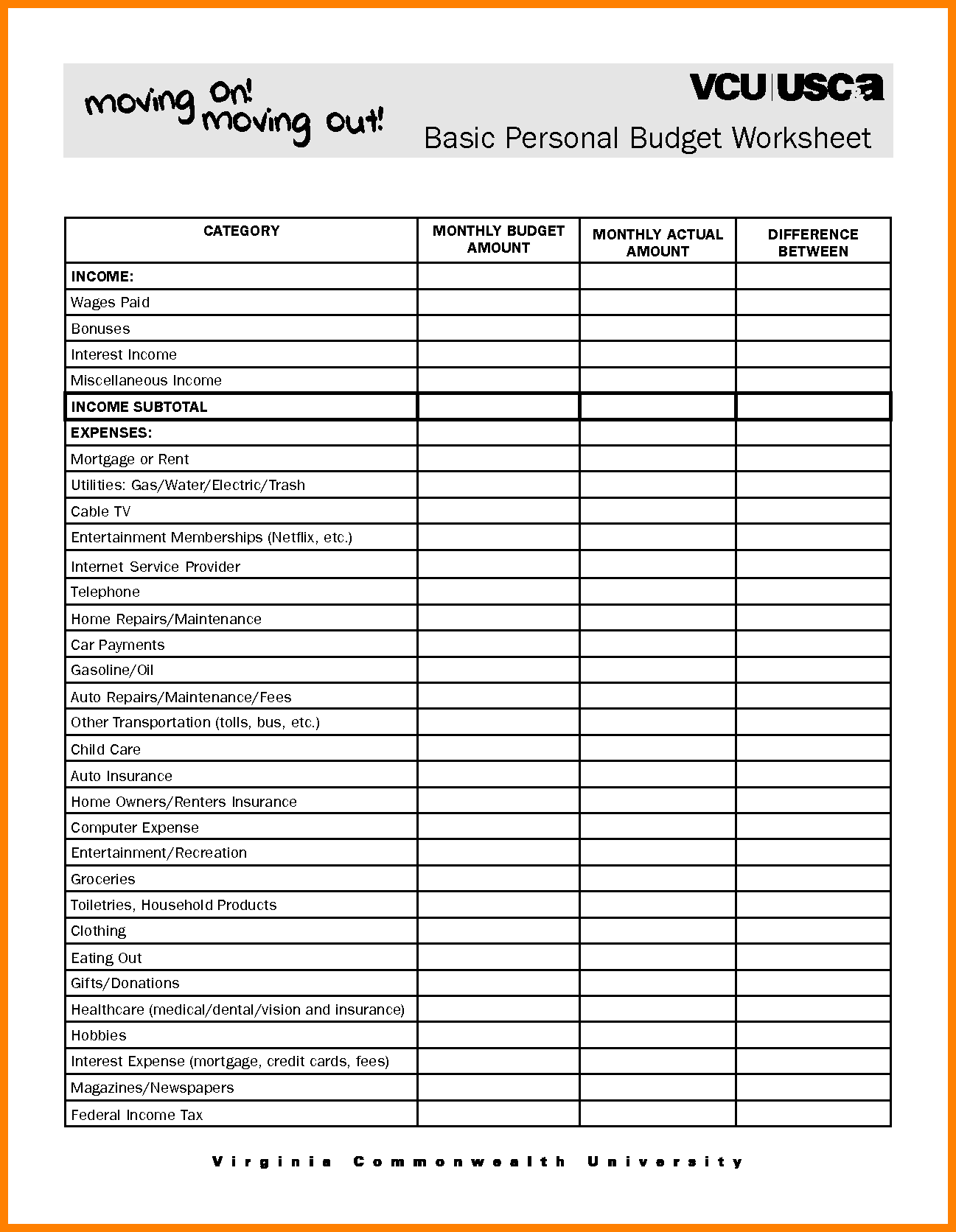 Print Budget Worksheet and Simple Household Bud Worksheet Worksheets Reviewrevitol Free