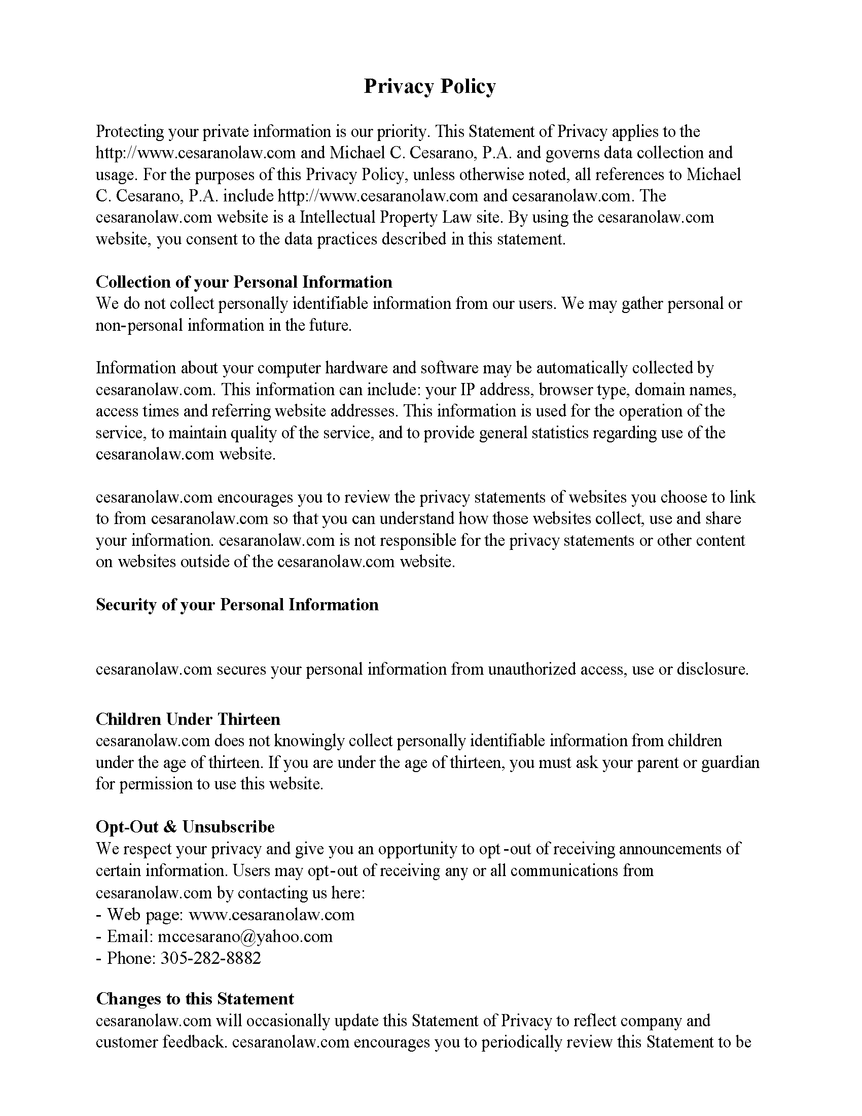Privacy Policy Statement Sample and Privacy Policy Page 1