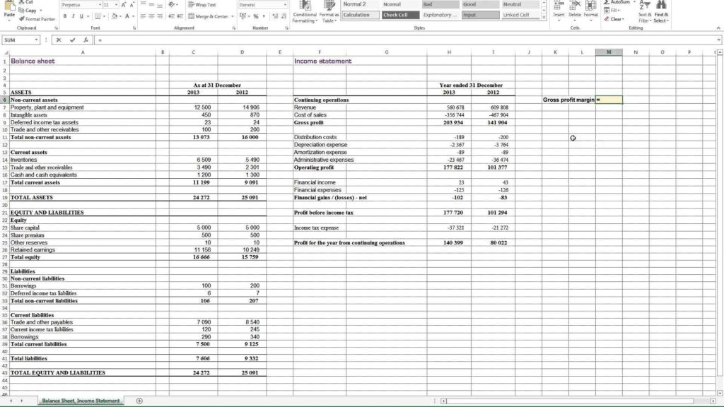Profit and Loss Sheet Template and Profit and Loss Statement Template for Self Employed Profit