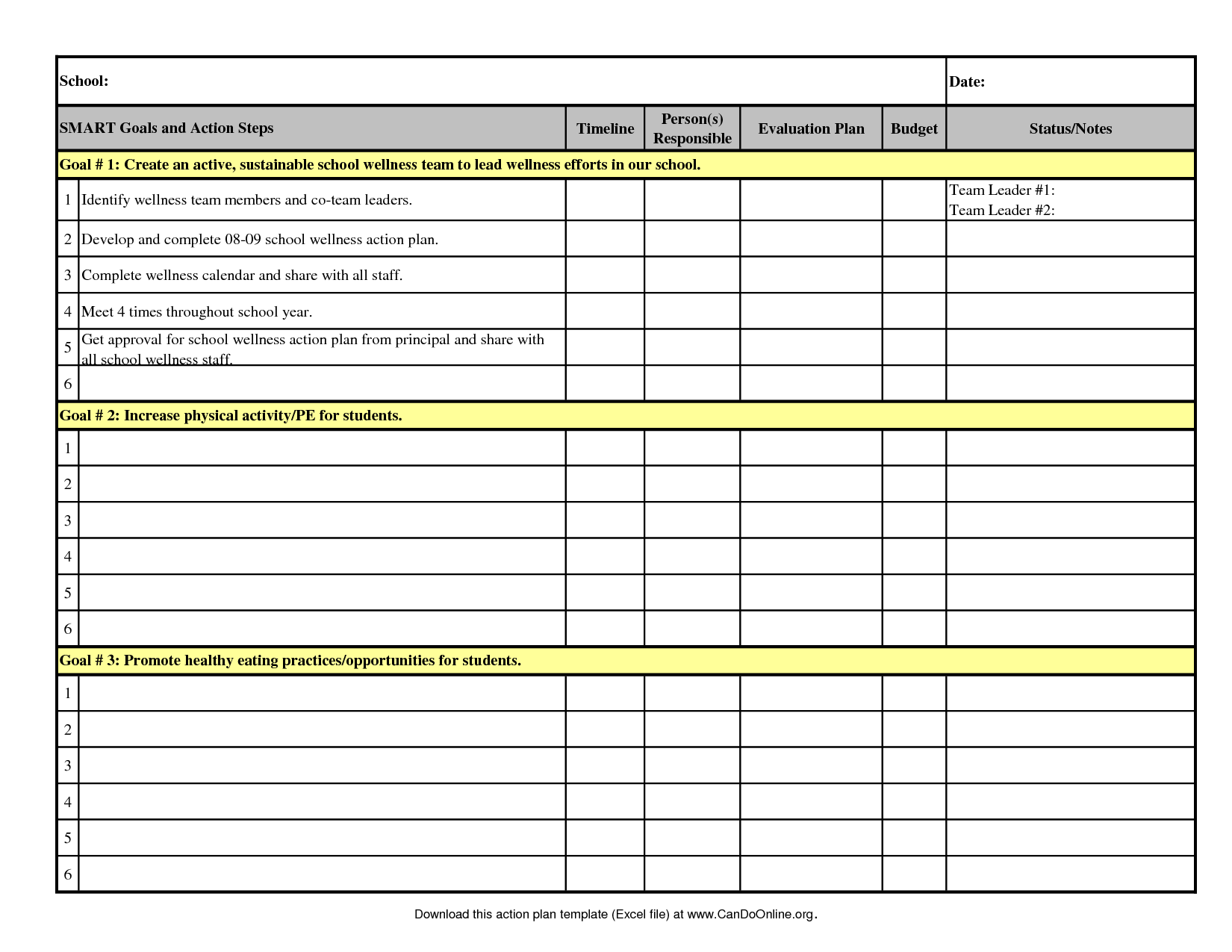 Project Manager Spreadsheet and Action Plan Template 2008 09 Excel T68noboj Vision Goals