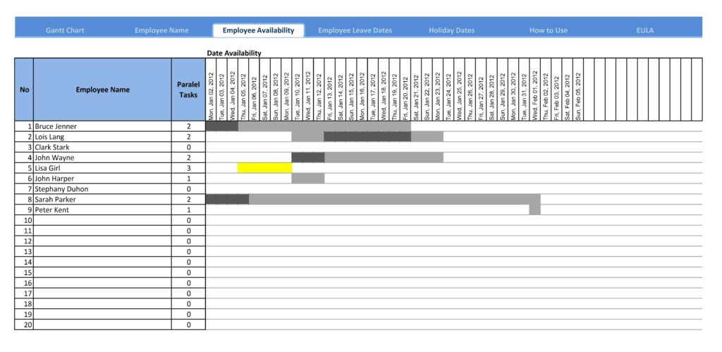 Project Plan Spreadsheet and Gantt Chart Template for Excel Excelindo