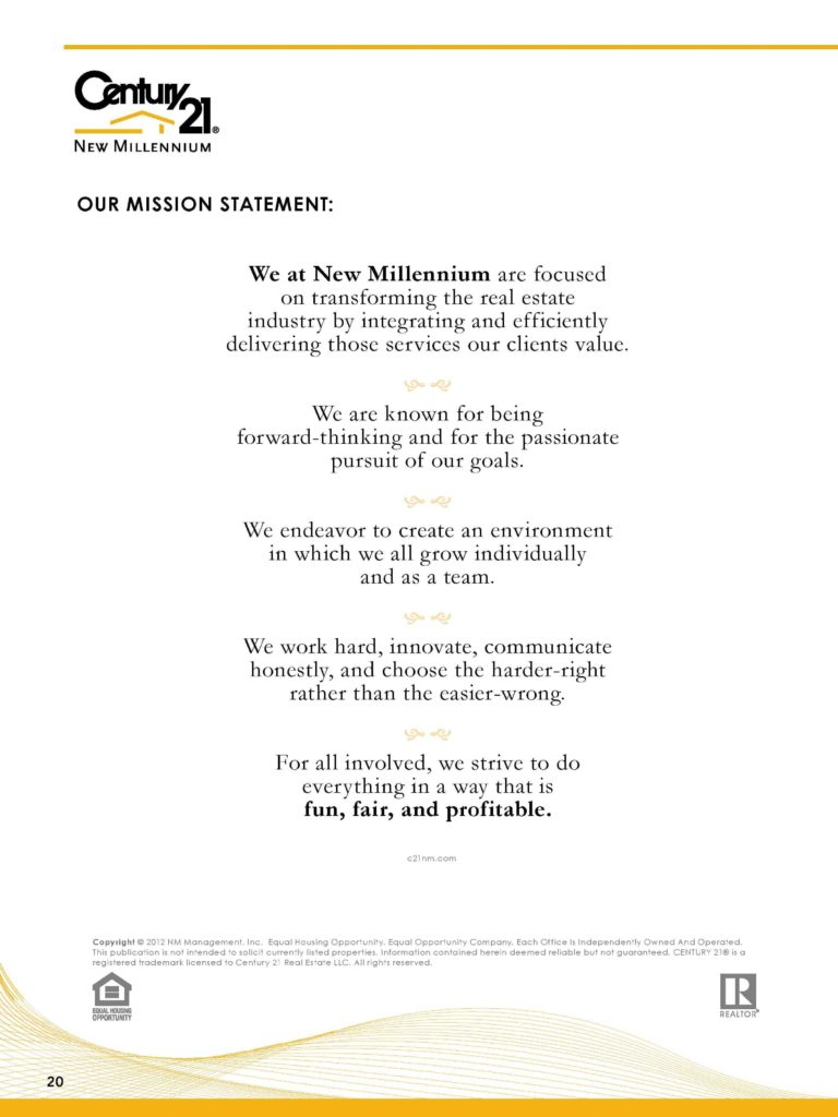 Property Management Mission Statement Examples and Listing Presentation Mission Statement Page 20 Century 21 New
