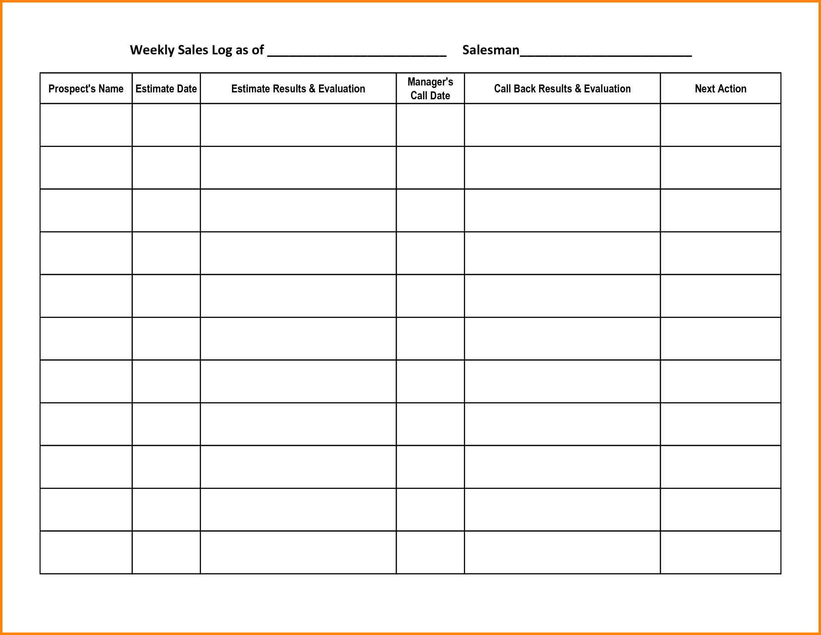 Prospect Tracking Spreadsheet and 8 Sales Call Log Memo Templates