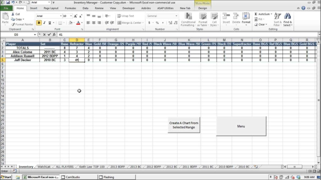 Prospect Tracking Spreadsheet and Prospect Baseball Cards Inventory Manager Excel Program
