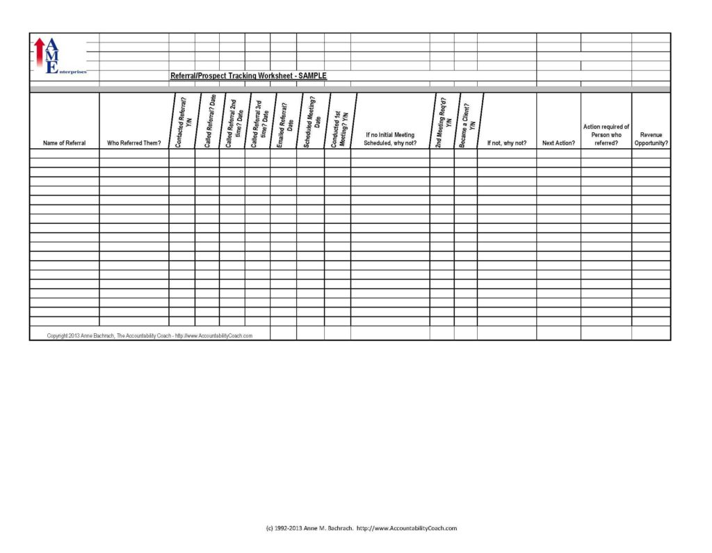Prospect Tracking Spreadsheet and Referral Prospect Tracking Spreadsheet Sample Free