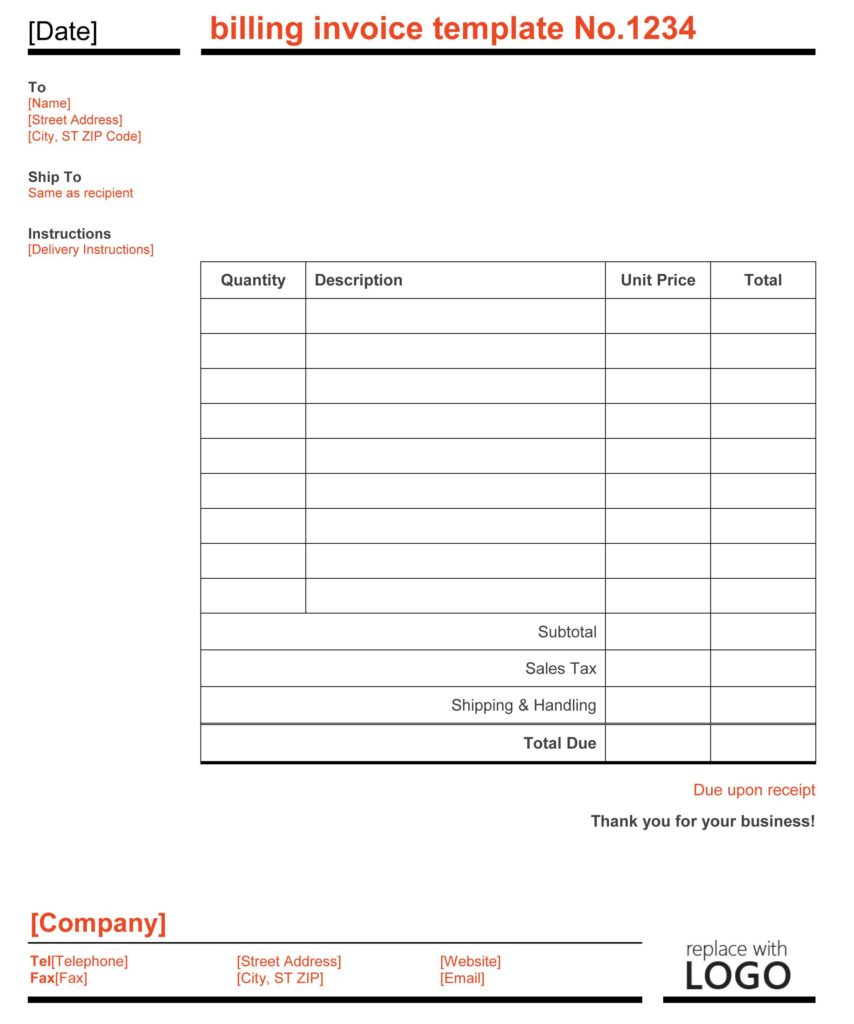 Repair Bill Template and 28 Bill Template Billing Invoice Template for Excel Free