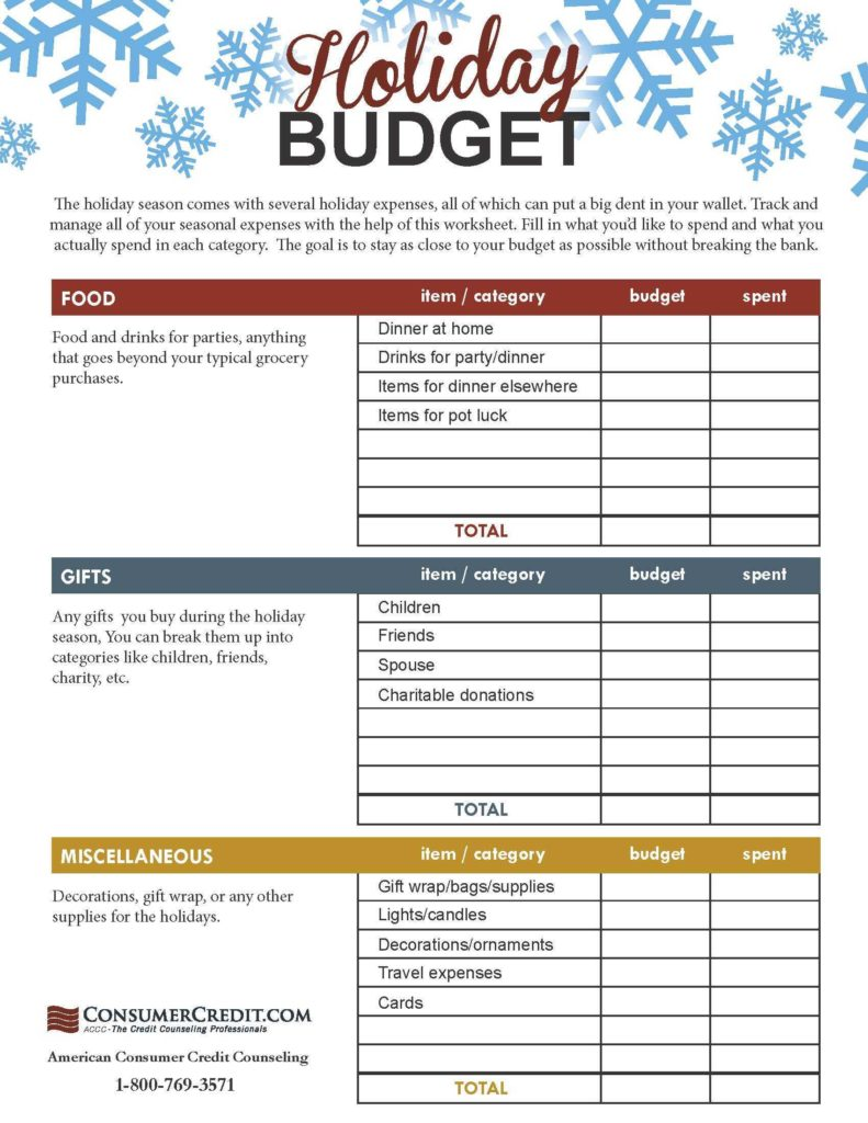 Retirement Expense Worksheet and Holiday Bud Worksheet Talking Cents