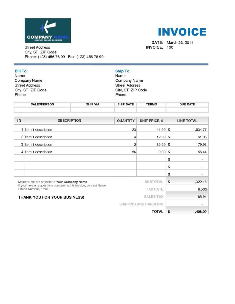 Roofing Invoice Sample and 4 Free Roofing Invoice Templates In Excel Firmsinjafo