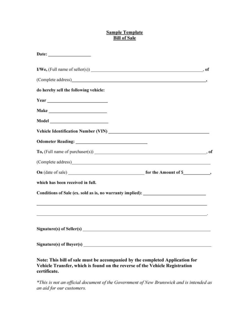 Sample Auto Bill Of Sale and 45 Fee Printable Bill Of Sale Templates Car Boat Gun Vehicle
