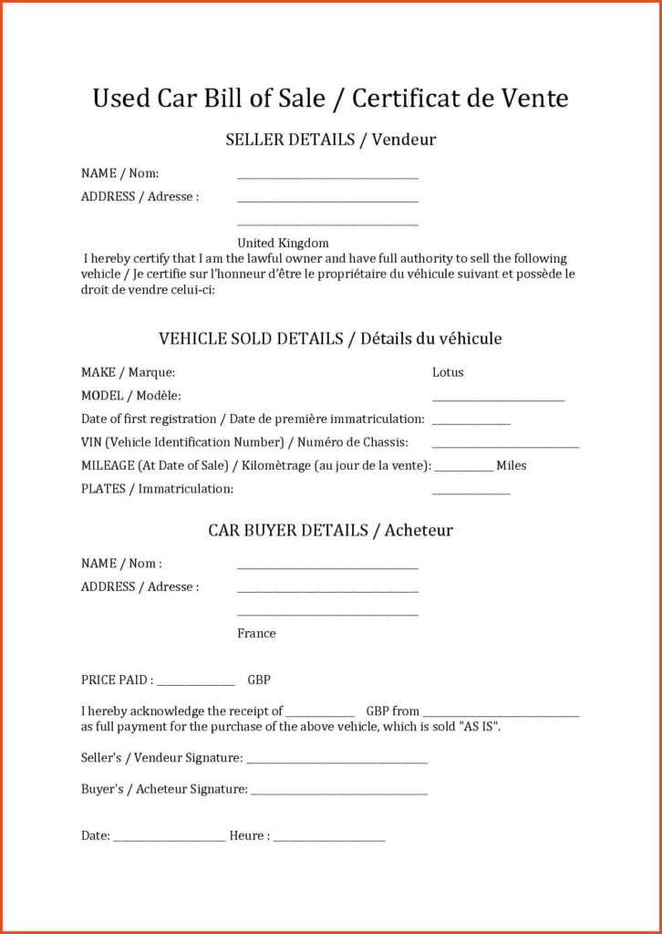Sample Bill Of Sale Auto and Sample Automobile Bill Of Sale Teerve Sheet