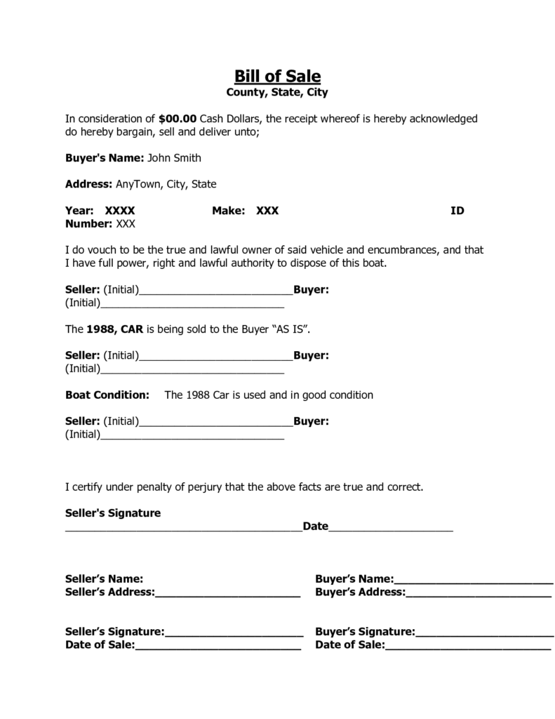 Sample Car Bill Of Sale form and Printable Sample Free Car Bill Of Sale Template form Laywers