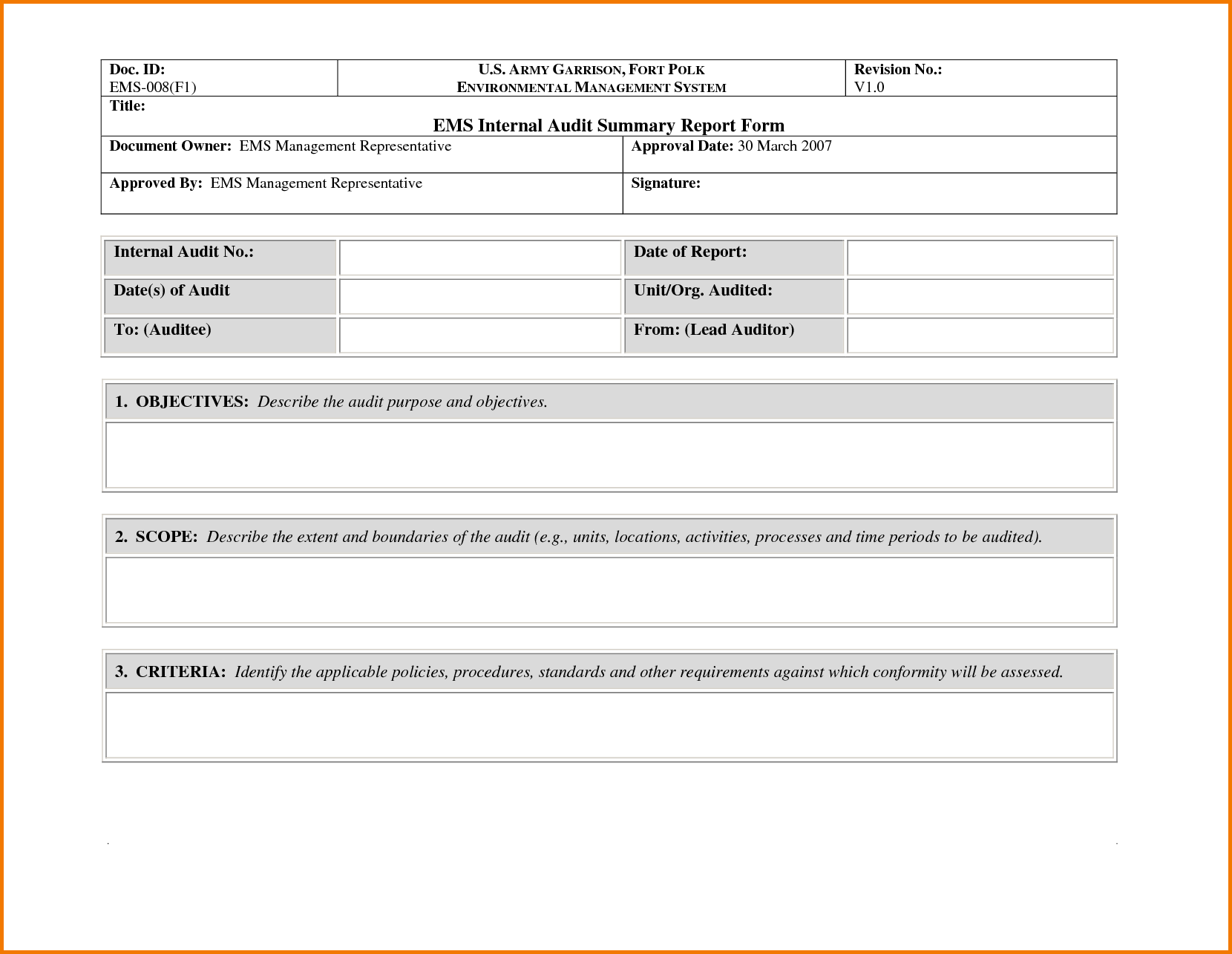 Sample Compliance Audit Report and Awesome Sample Of Internal Audit Summary Report form with Blank