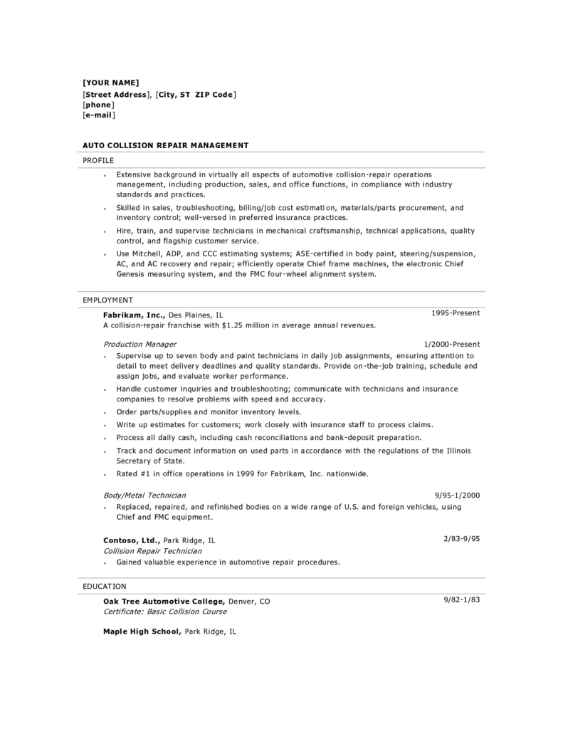 Sample Construction Estimate form and Collision Estimator Cover Letter