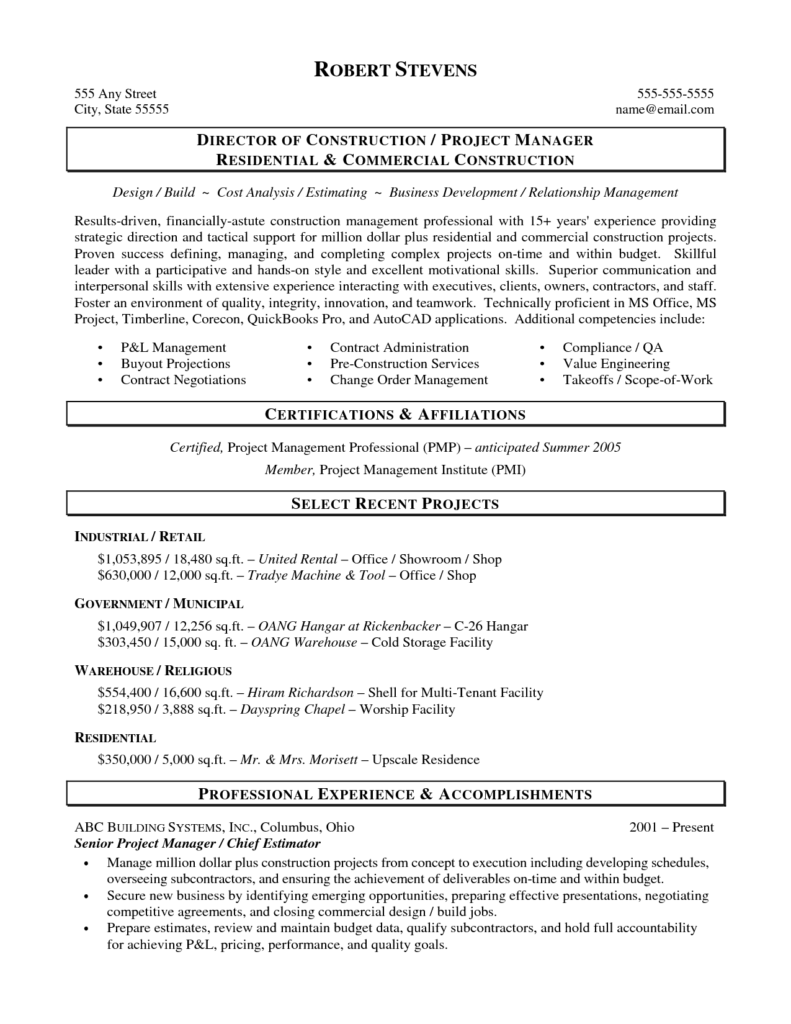 Sample Construction Estimate form and Construction Estimator Resume Sample Resume for Your Job Application