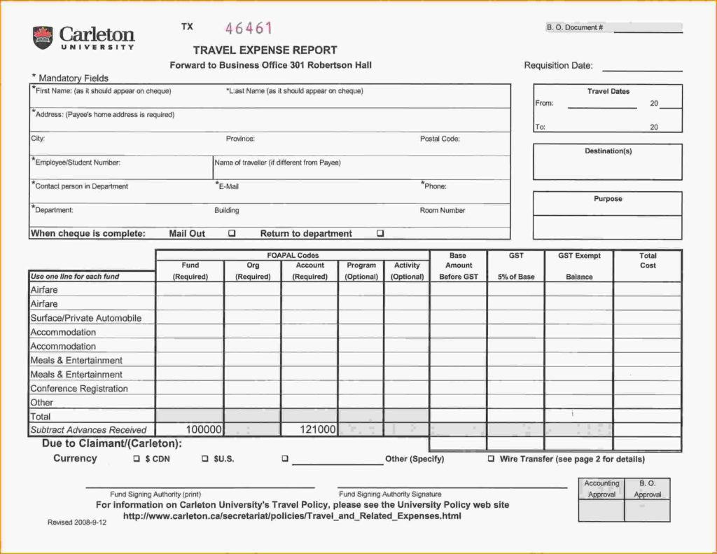 Sample Expense Report form and 9 Expense Report Example Loan Application form