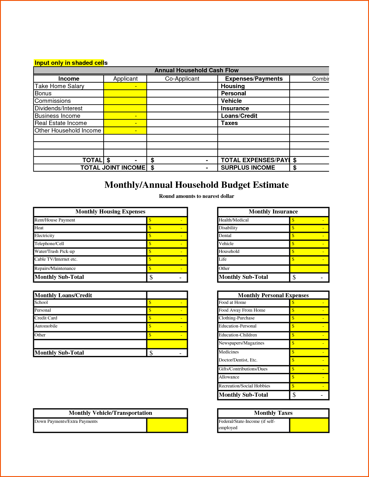 Sample Home Budget Worksheet and Household Bud Templatememo Templates Word Memo Templates Word