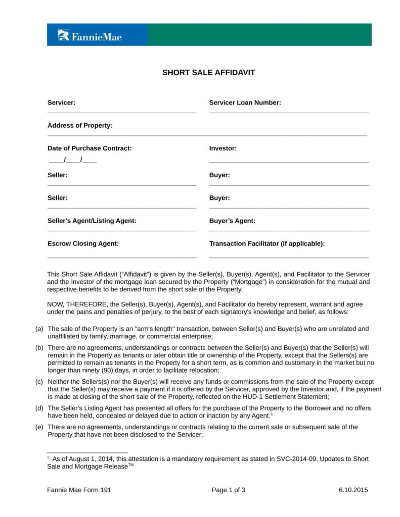 Sample Hud 1 Settlement Statement and 20 Sample Affidavit forms