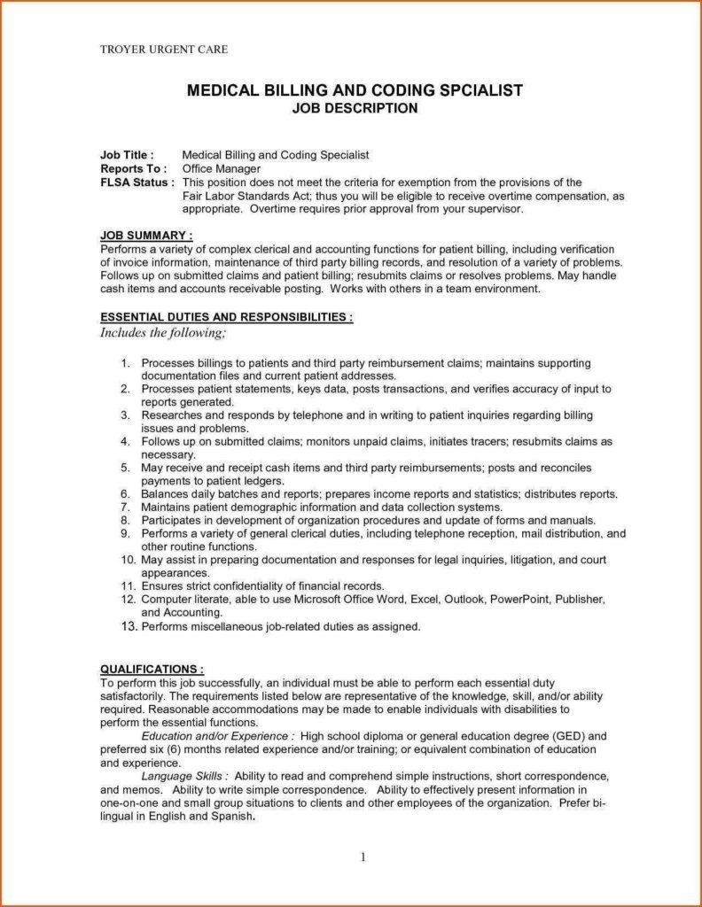 Sample Letter to Reduce Medical Bill and Medical Billing Job Description for Resume Resume for Your Job