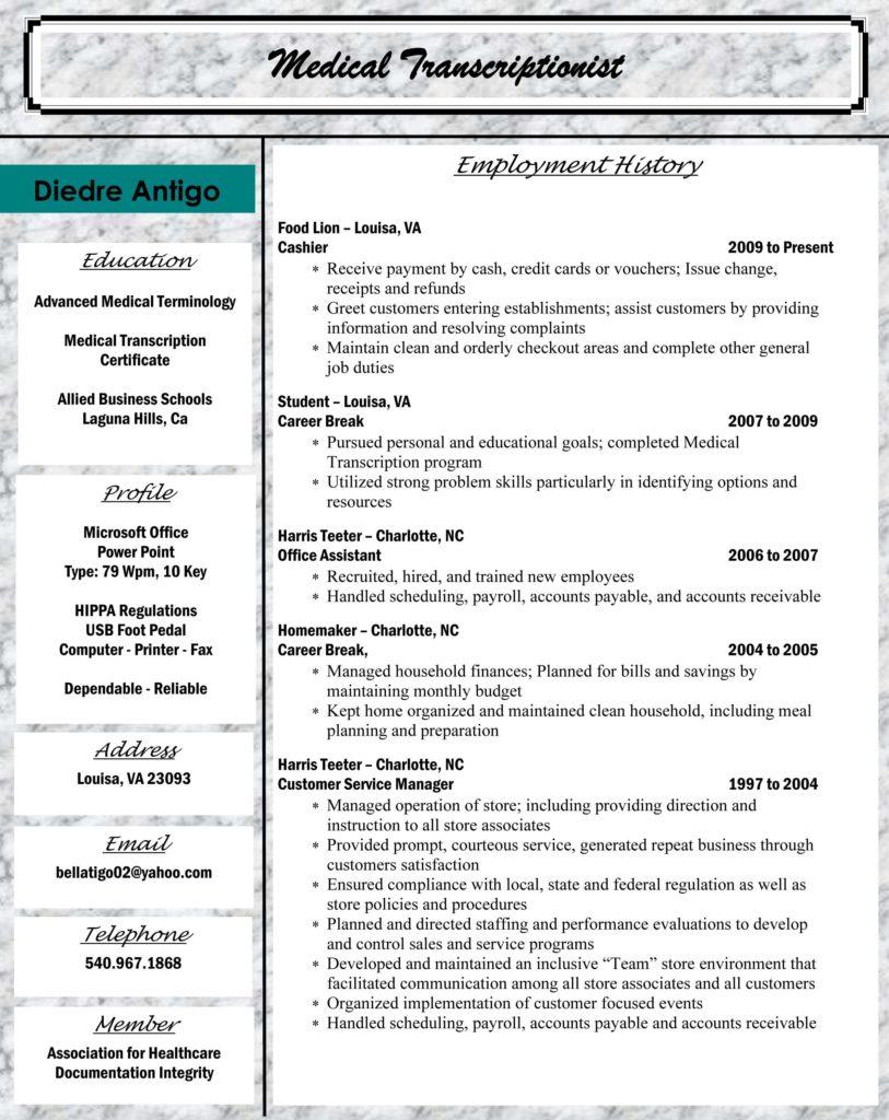 Sample Medical Bill and Allied Student Dre Antigo Medical Transcriptionist