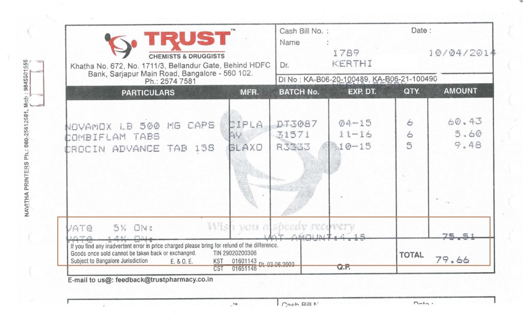 Sample Medical Bill and What is Value Added Tax Vat