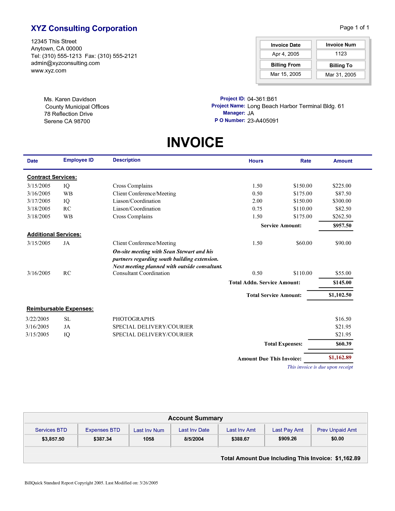 Sample Of An Invoice and Sample Invoice Consultant Free Invoice Template
