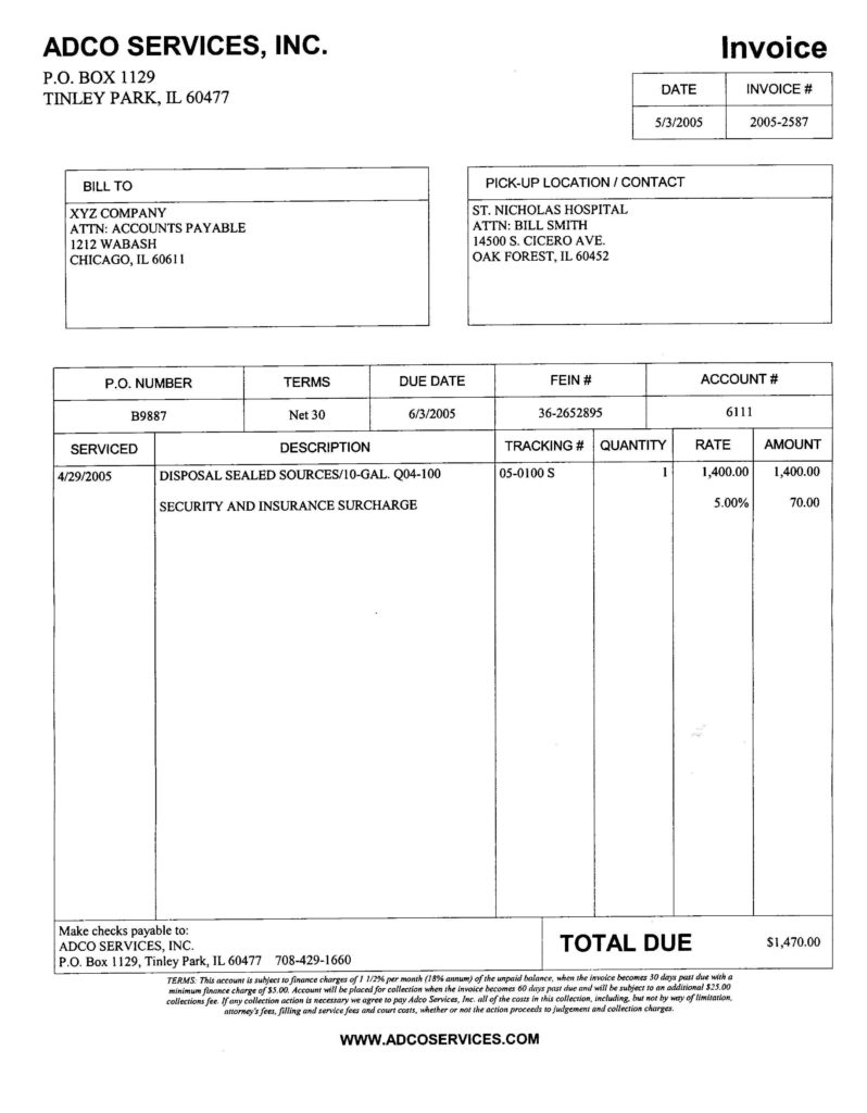 Sample Of An Invoice for Services and New Page 1