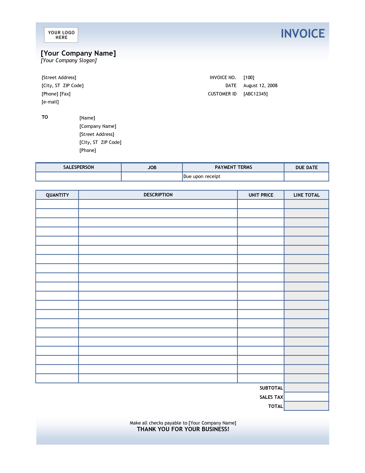 Sample Of An Invoice for Services and Receipt for Services Template Subway Shift Leader Cover Letter