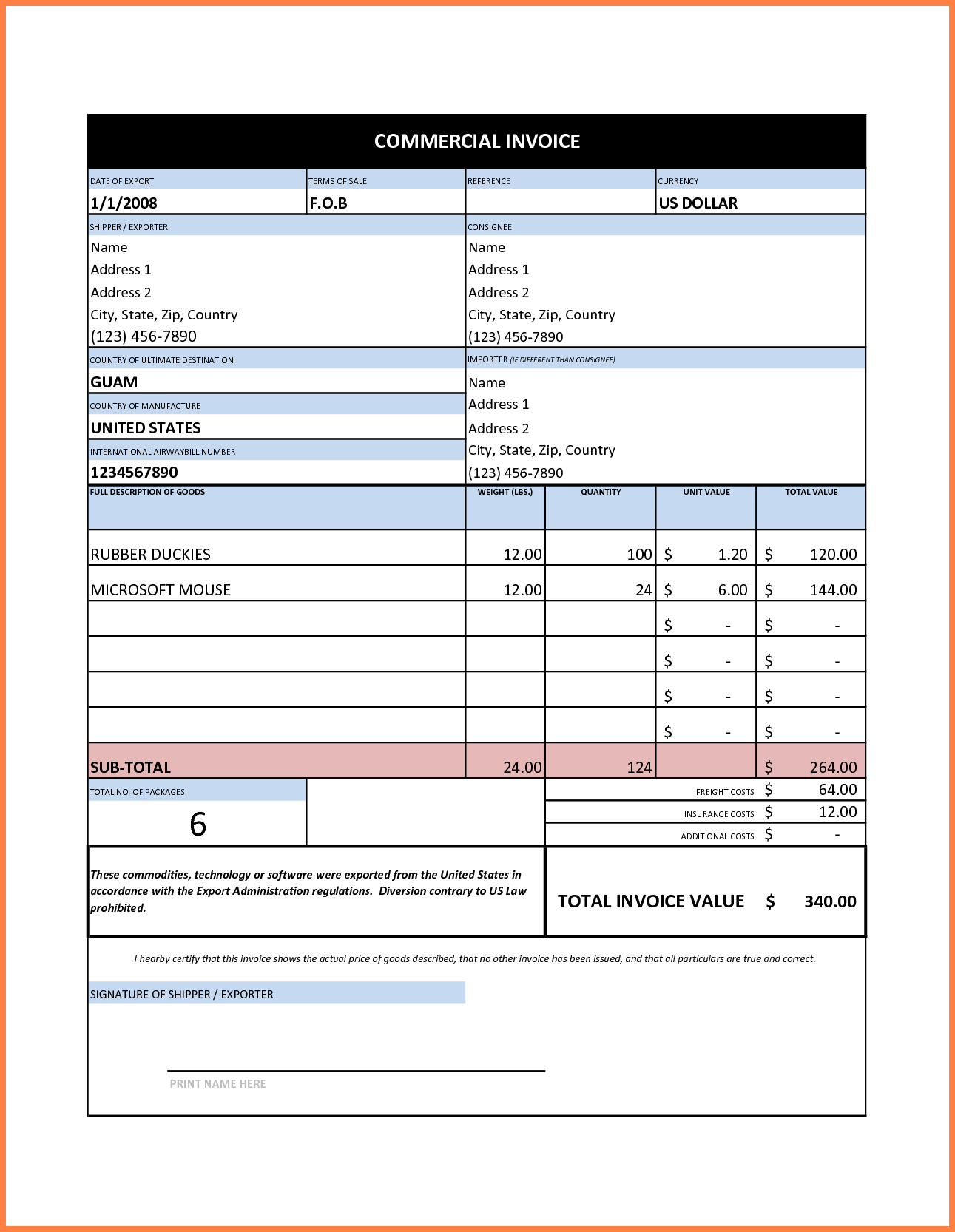 Sample Of Commercial Invoice and 7 Mercial Invoice Sample Excel Invoice Template