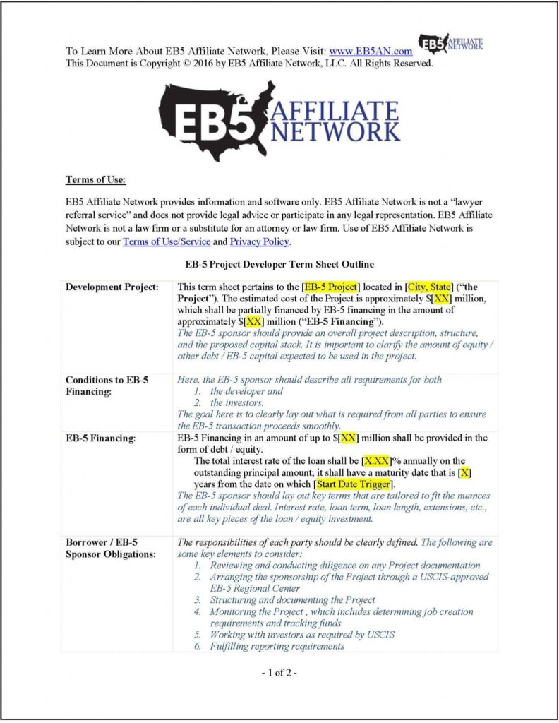 Sample Of Due Diligence Report and Sample Eb 5 Project Developer Term Sheet