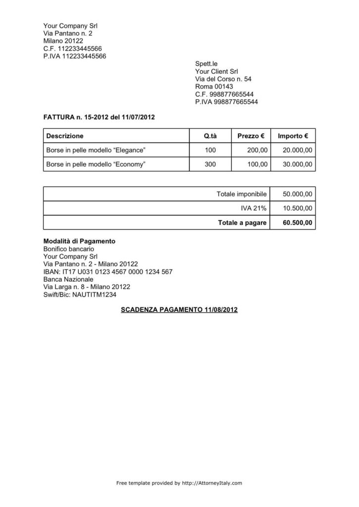 Sample Of Invoice for Payment and Italian Invoice Template
