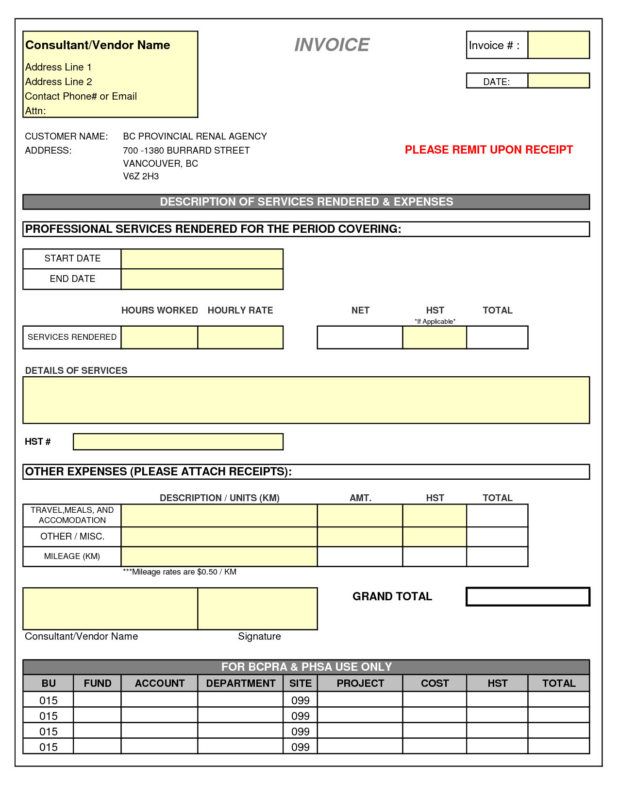Sample Of Invoice for Professional Services and Consultant Invoice Template Doc Invoice Example