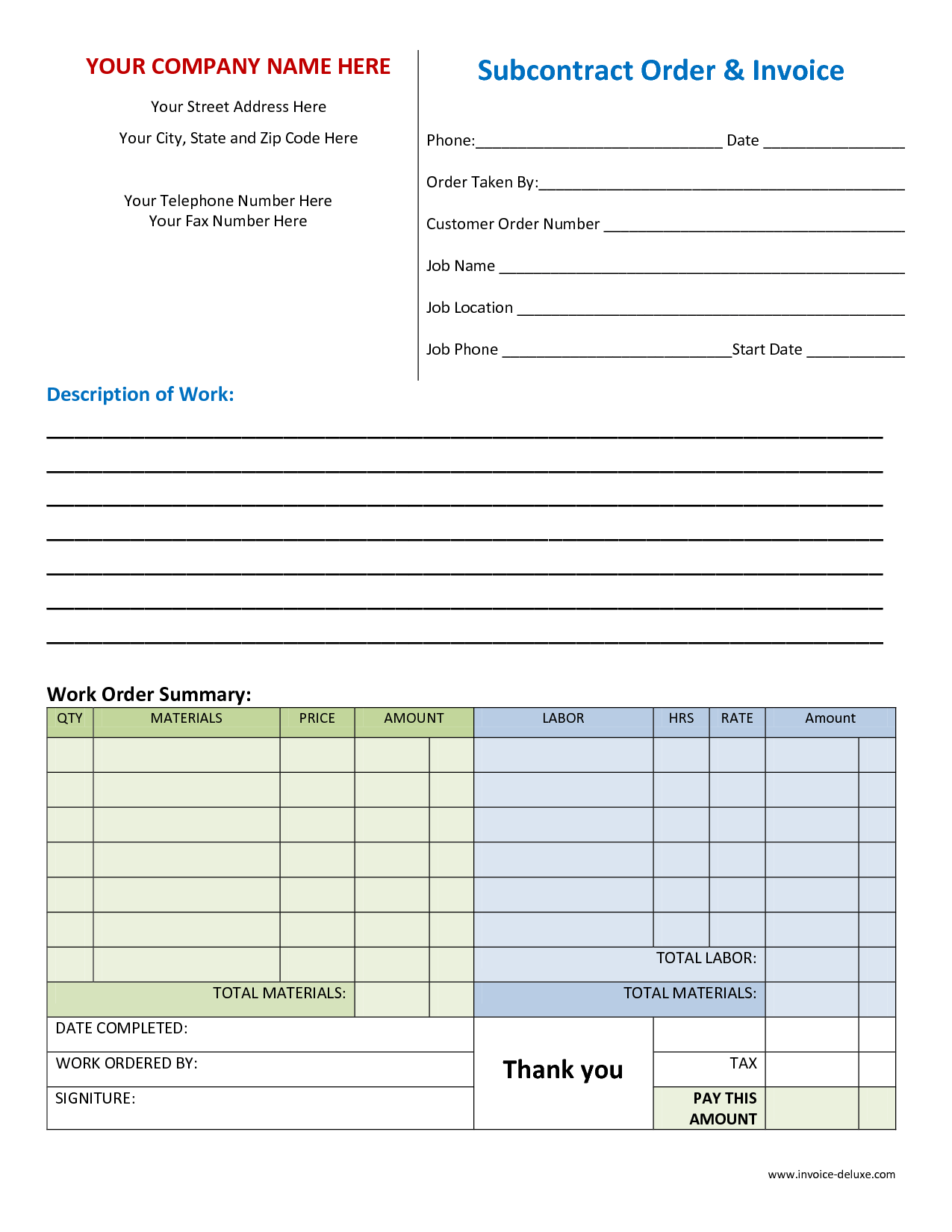 Sample Plumbing Invoice and Work Invoice Template Free Invoice Example