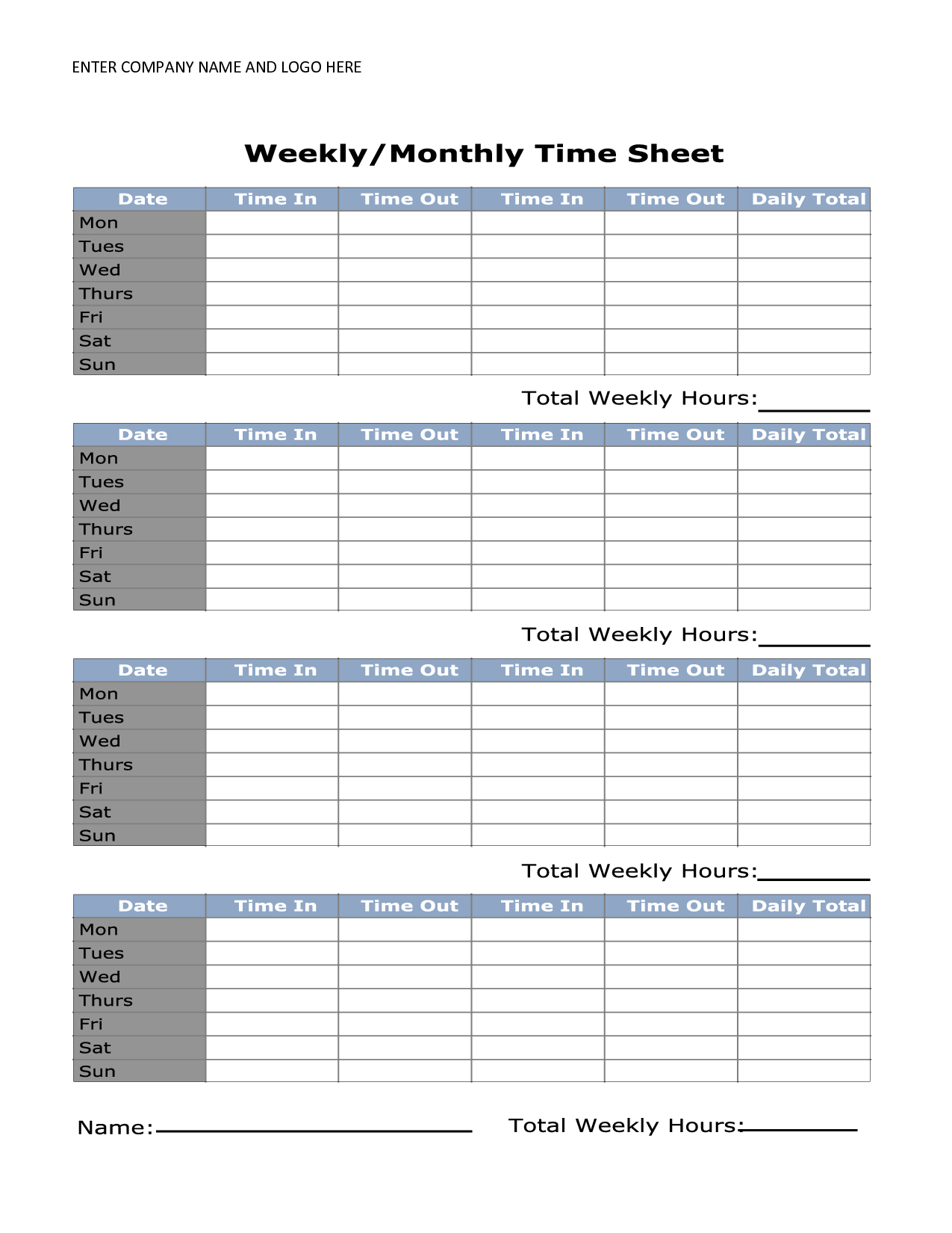 Sample Time Sheets to Print and Printable Time Sheets Gameshacksfree