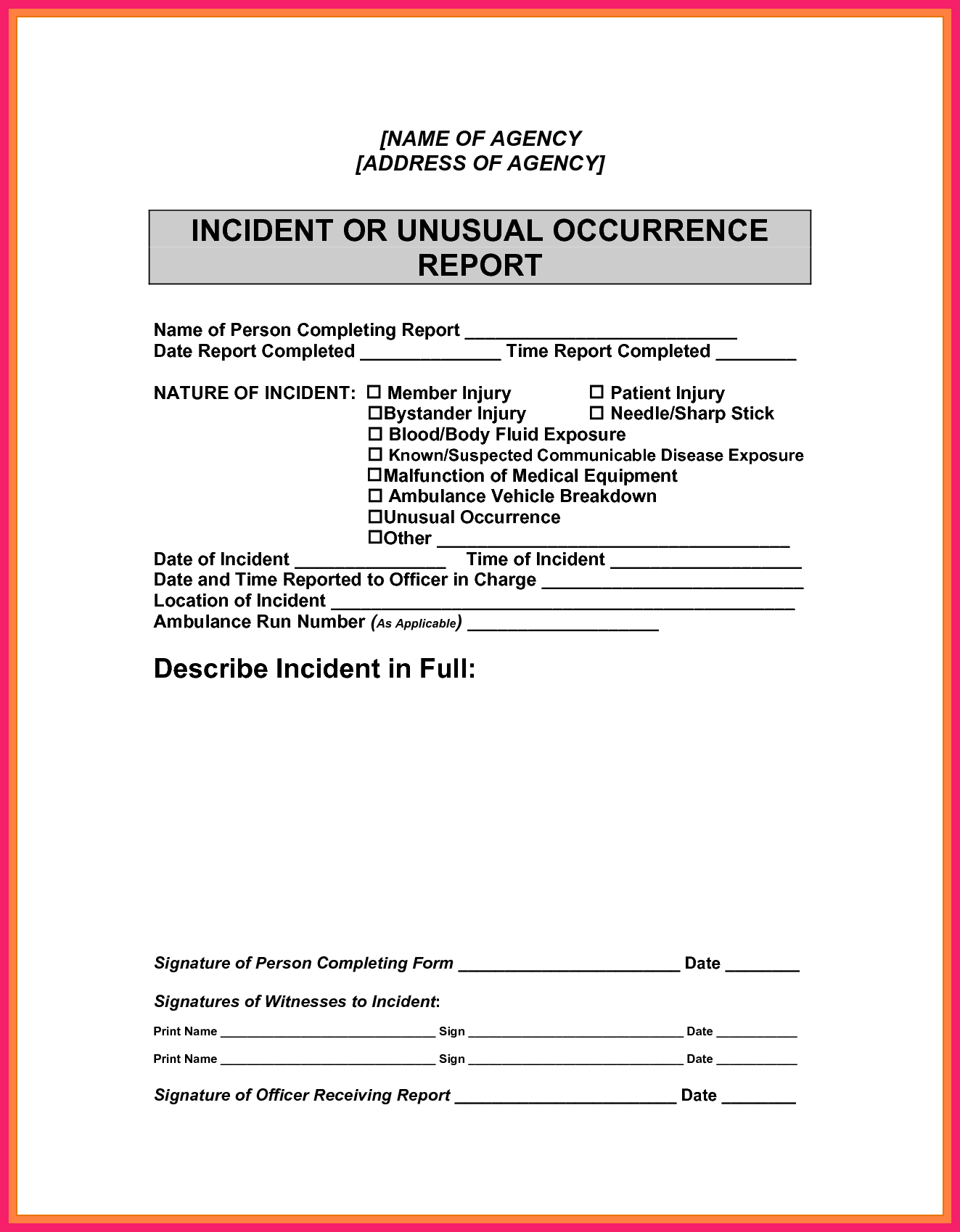 Samples Of Incident Report and Example Of Incident Report Bio Letter format