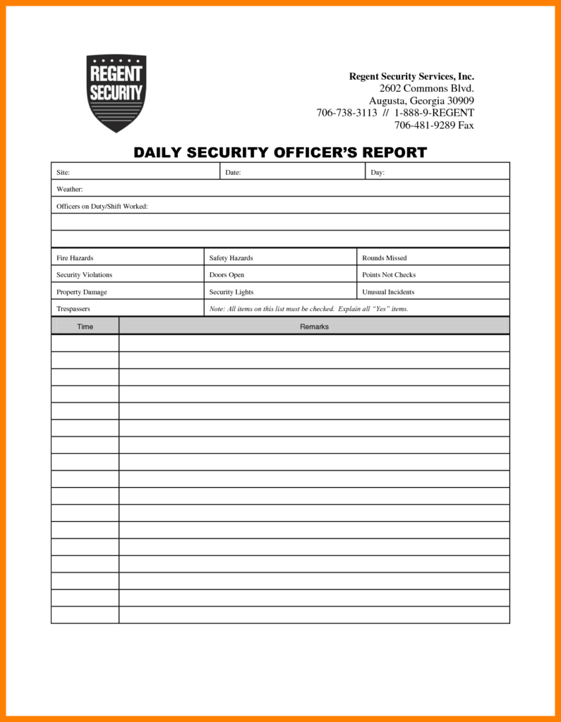 Security Guard Incident Report Example and 7 Security Incident Report format Packaging Clerks
