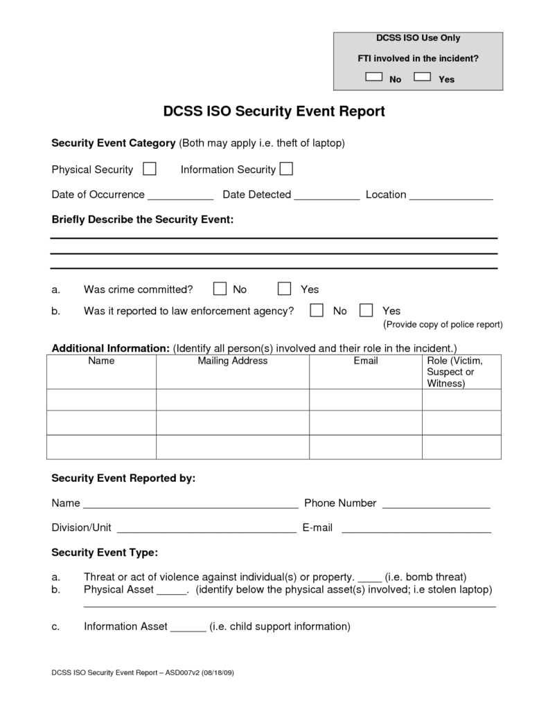 Security Guard Incident Report Example and Best Photos Of Security Incident Report Template Security